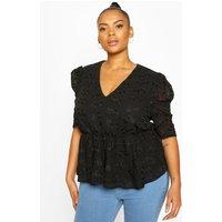 Womens Plus Floral Lace Angel Sleeve Peplum Top - Black - 22, Black
