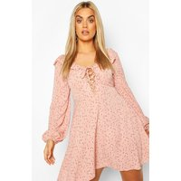 Womens Plus Floral Lace Up Skater Dress - Pink - 22, Pink