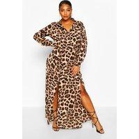 Womens Plus Leopard Oversized Shirt Maxi Dress - Brown - 18, Brown
