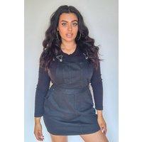 Womens Plus Denim Dungaree Pinafore Dress - Black - 22, Black