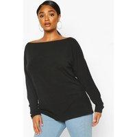 Womens Plus Oversized Rib Longsleeve T-Shirt - Black - 18, Black