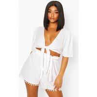 Womens Plus Tie Front Tassel Hem Beach Co-Ord - White - 16, White
