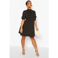 Womens Plus Heart Print Puff Sleeve Skater Dress - Black - 24, Black