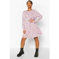 Womens Plus Heart Ruffle Printed Smock Dress - Pink - 26, Pink