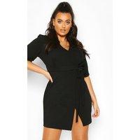 Womens Plus Wrap Self Belted Dress - black - 26, Black