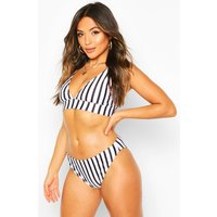 Womens Petite Nautical Stripe Bikini Bottom - Black - 6, Black