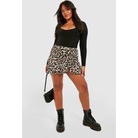 Plus Leopard Print Ruffle Skater Skirt