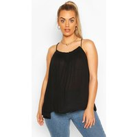 Womens Plus Cheesecloth Ruffle Swing Cami - Black - 16, Black