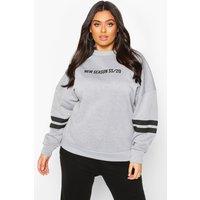 Womens Plus Stripe Arm Oversized Sweat - grey - 22, Grey