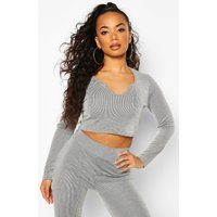 Womens Petite Contrast Rib Notch Neck Long Sleeve Top - Grey - 8, Grey