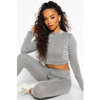 Womens Petite Contrast Rib Long Sleeve Crop Top - Grey - 14, Grey