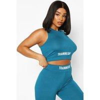 Womens Plus Slogan Gym Crop Top - green - 18, Green