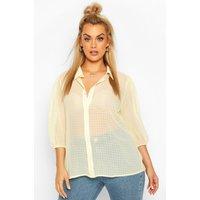 Womens Plus Sheer Gingham Check Shirt - yellow - 18, Yellow