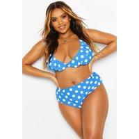 Womens Plus Polka Dot Plunge Frill High Waist Bikini - Blue - 20, Blue