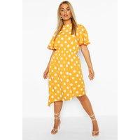 Plus Spot Angel Sleeve Midi Dress - yellow - 16, Yellow