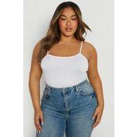 Womens Plus Basic Strappy Scoop Cami Top - White - 16, White