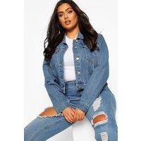 Womens Plus Cropped Denim Jacket - Grey - 16, Grey
