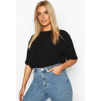 Womens Plus Soft Rib Oversized T-Shirt - Black - 16, Black