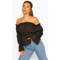 Womens Petite Satin Stripe Volume Sleeve Bardot Top - Black - 8, Black