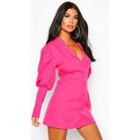 Womens Petite Volume Sleeve Blazer Dress - Pink - 8, Pink
