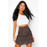 Womens Petite Floral Ruched Frill Hem Mini Skirt - Black - 8, Black