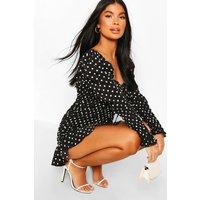 Womens Petite Polka Dot Volume Sleeve Ruched Dress - Black - 12, Black