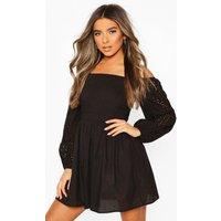 Womens Petite Crinkle Skater Dress - Black - 10, Black