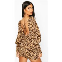 Womens Petite Woven Leopard Puff Sleeve Mini Dress - beige - 12, Beige