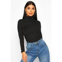 Womens Petite Rib Long Sleeve Roll/Polo Neck Bodysuit - Black - 14, Black