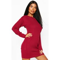 Womens Petite Knitted Rib Roll Neck Jumper Dress - Red - S, Red
