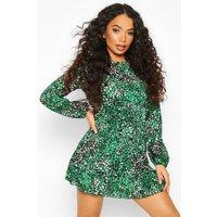 Womens Petite Woven Leopard Print Frill Hem Skater Dress - green - 12, Green