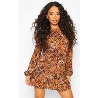 Womens Petite Woven Leopard Print Frill Hem Skater Dress - Orange - 12, Orange