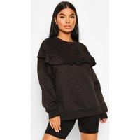 Womens Petite Ruffle Front Sweatshirt - black - 14, Black
