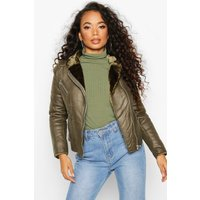 Womens Petite Faux Fur Lined Aviator Jacket - green - XL,