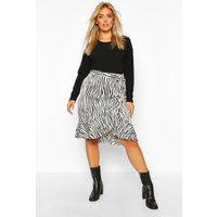 Womens Plus Zebra Print Ruffle Self Belt Midi Skirt - white - 16, White