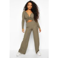 Womens Petite Twist Front Top & Wide Leg Trouser Co-Ord - green - 14, Green