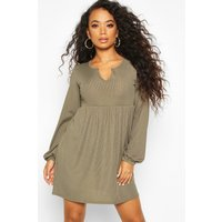 Womens Petite Blouson Sleeve Notch Neck Rib Smock Dress - green - 4, Green