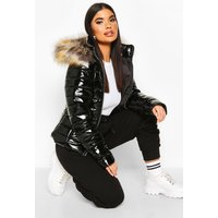 Womens Petite High Shine Faux Fur Trim Hooded Coat - Black - L, Black
