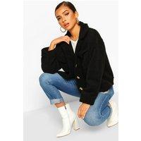 Womens Petite Wool Look Trucker Jacket - black - 6, Black