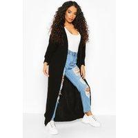 Womens Petite Chunky Knit Maxi Cardigan - black - M/L, Black