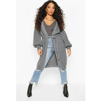 Womens Petite Chunky Knit Belted Cardigan - grey - L, Grey