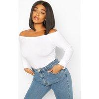 Womens Plus Basic Off The Shoulder Long Sleeve Bodysuit - White - 18, White