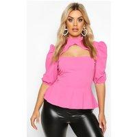 Womens Plus Choker Cut Out Puff Sleeve Peplum Top - Pink - 26, Pink