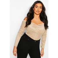 Womens Plus Metallic Plisse Off The Shoulder Top - Metallics - 20, Metallics