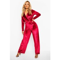Womens Plus Velvet Wrap Front Wide Leg Jumpsuit - red - 18, Red