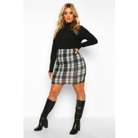 Womens Plus Mono Check Mini Skirt - black - 22, Black
