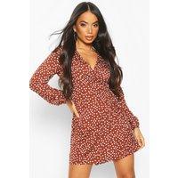 Womens Petite Polka Dot Midi Wrap Dress - brown - 4, Brown