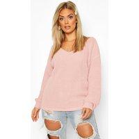 Womens Plus Oversized V-Neck Jumper - pink - 16, Pink