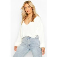 Womens Plus V-Neck Fisherman Crop Jumper - white - 24-26, White