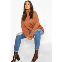 Womens Plus Roll Neck Oversized Balloon Sleeve Jumper - brown - 16-18, Brown